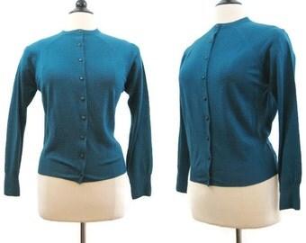 Vintage 60s Cardigan Sweater Teal Merino Wool M L