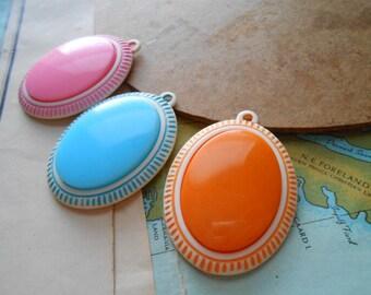 large plastic colorful pendants - vintage mod stripes - orange pink blue - vintage old new stock