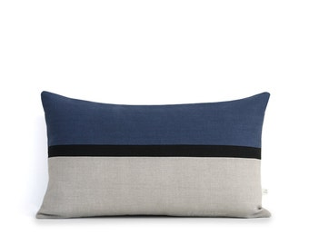 Navy Blue Horizon Line Pillow Cover with Black & Natural Linen Stripes by JillianReneDecor, Modern Home Decor, Striped Colorblock