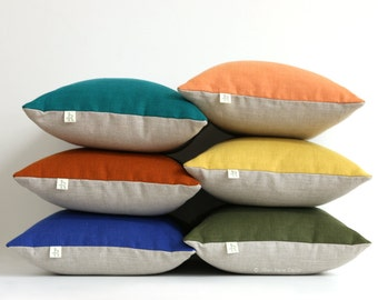 Colorblock Pillow Cover in NEW COLORS, Stone Grey & Natural Linen by JillianReneDecor - Modern Home Decor - Jewel Tone Pillows - fw2015