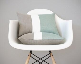 Colorblock Pillows (Set of 2) Sage, Cream & Natural Linen by JillianReneDecor | Modern Home Decor | Decorative Pillows | Aquamarine