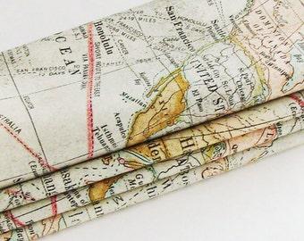 Global Travel Map Napkins /  Old Nautical World Map Images / Nostalgic Table Decor / Beige, Brown, Black, Green / Set of 4 / Gift Under 50