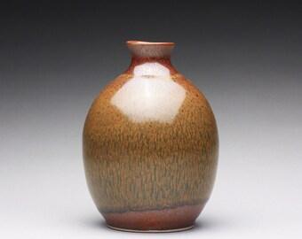porcelain bud vase, ceramic bottle, sake bottle with iron red, iron yellow and white glazes