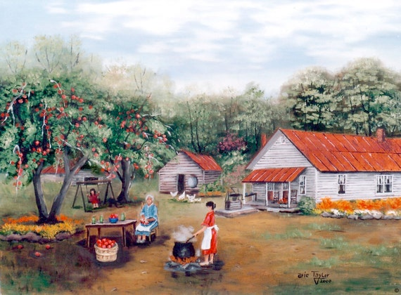 Artist Painted  S Making Apple Butter