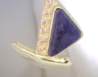Purple Charoite Pink Sapphire Handmade Sterling Silver Ladies Butterfly Pendant