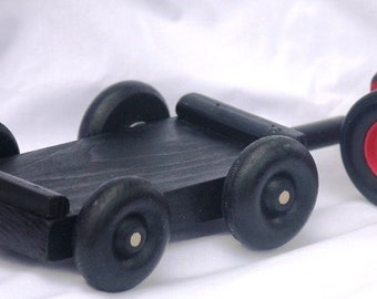 Toy Black Trailer for Tractor - Handcrafted Wooden Black Trailer or Wagon for Tractor