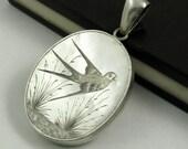 Antique Victorian Silver Engraved Bird Locket, Aesthetic Movement