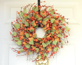 "Orange Fall Wreath Fall Berry Wreath Autumn Thanksgiving wreath Grapevine twig wreath Orange berry garland Two wreath sizes 18"" or  20"""