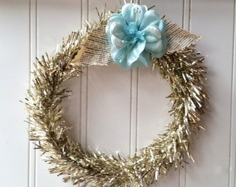 Vintage style Silver wreath 6 inch vintage aqua millinery flower French text Romantic Cottage Christmas