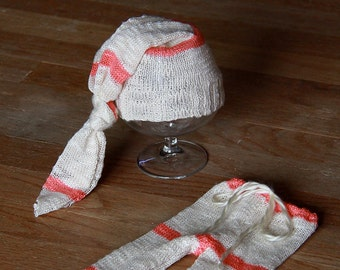 Upcycled Cream Coral Stripe Pants Hat Newborn Size RTS Photography Prop