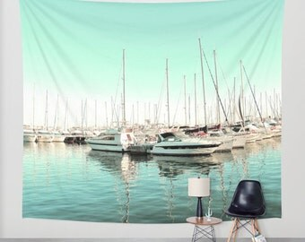 Marina Tapestry, Boats Tapestry, Mint Nautical Large Wall Decor, Boat Photo Tapestry, Modern Decor, Yacht Wall Hanging, Nature Tapestry,Dorm