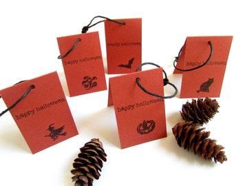 Folded mini gift tags, set of 10, Halloween