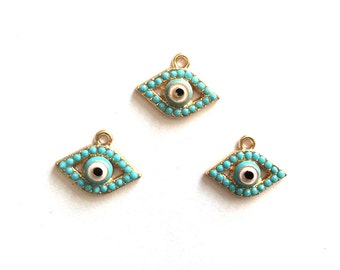 3 pcs- Matte Gold Plated  EVİL EYE with blue rhinestone charm-16x12mm-(001-038GP)