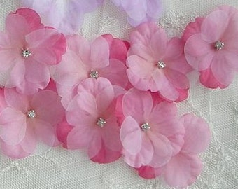 36 pc Rhinestone Beaded Flower Applique Hot Pink Baby Hydrangea Petals Bow