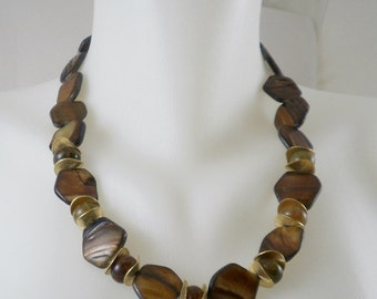 Iridescent Brown and Gold Stone Necklace