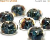 ON SALE 30% OFF Seven Blue/Multi-colors Borosilicate Rondelle Beads - Handmade Glass Lampwork Bead Sets 10409501