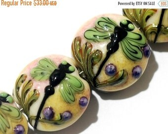 ON SALE 50% OFF Four Green Dragonfly Lentil Beads 11005912 - Handmade Glass Lampwork Bead Set