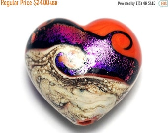 ON SALE 40% OFF Magic Moment Waves Heart (Large) - 11833925 - Handmade Glass Lampwork Beads