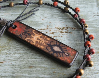 Decoupage Wood Tile Pendant Necklace with Textile Print-Earthy Brown, Rust, Tan-Beaded Braided Linen