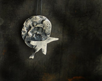 Full Moon Necklace, Sterling Silver Flying Goose, Wearable Metal Art, Bird Lover Gift