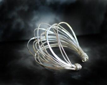 Wide Silver Cuff, Sterling Silver Bracelet, Sculptural Jewelry