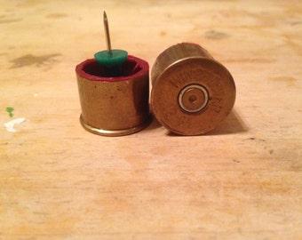 Up cycled 12 gauge Shotshell thumb tacks push pins set of 2