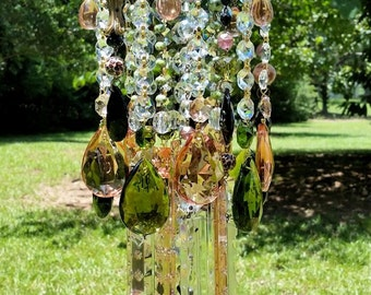 Bohemian Antique Crystal Wind Chime, Green and Rose Crystal Wind Chime, Gypsy Wind Chime, Garden Decoration