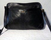Phillippe genuine glove tanned leather  clutch satchel shoulder bag  in classic black  vintage 70s