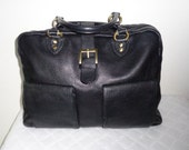 USA made Boston bag, carryall bag,overnight bag ,top zip  satchel,handbag purse dual strap bag, gorgeous vintage 90s black pebble leather