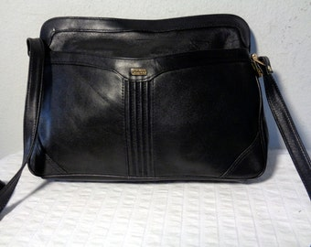 Phillippe genuine glove tanned leather  clutch satchel shoulder bag  in classic black  vintage 70s
