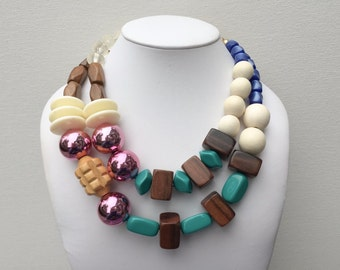 Necklace 2.4 - handmade statement necklace featuring vintage lucite and wood beads