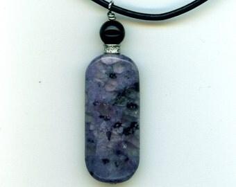 Purple Kiwi Jasper and Onyx Necklace
