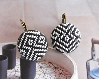 Handmade Large Rustic Black White Tribal Aztec Print Fabric Covered Buttons Earrings Ear Hook