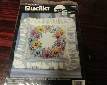 Sealed Kit Pansy Wreath Bucilla 40915 Counted Cross Stitch Kit Complete and Ready to Create