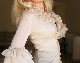 Cream colour chiffon blouse elegant blouse victorian blouse