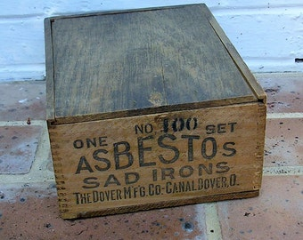 Antique Vintage Wooden Box Antique Vintage Wood Box Crate Antique Vintage Asbestos Sad Iron Box