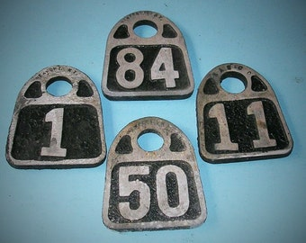 Antique Vintage Metal Tags Vintage Cow Tag Tags Livestock Tags ID Numbered Tags Number Tag Steampunk Jewelry DIY Jewelry