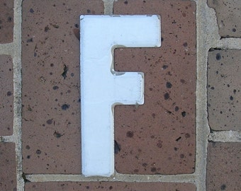 Vintage Metal Sign Metal Letter F Sign Chippy Painted Letter F Sign Old Rusty Letter F Antique Marquee Letter F