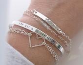 Layering Bracelet Set of 4 - Dainty - Silver Bar Bracelet - Skinny Stacking Birthstone Bracelets - hand stamped jewelry coordinates