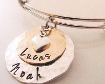 Layered Love  Mom Bracelet - hand stamped jewelry - personalized bracelet- mothers bracelet - adjustable bangle bracelet