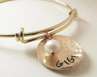GiGi Bracelet -  Gold Name Bracelet - Gold Filled Grandmother Gift - Grandma Bracelet