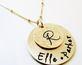 Personalized Necklace - Custom Name Necklace - Gold filled Mothers Necklace - hand stamped jewelry