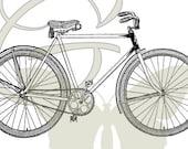 Vintage Bike Digital Image Printable Clip Art Travel Illustration Download Bicycle Graphic 105