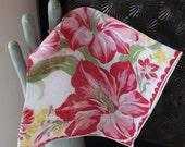 Valentines Day Sale Vintage pink floral hanky pink gladiolas hanky vintage handkerchief floral handkerchief