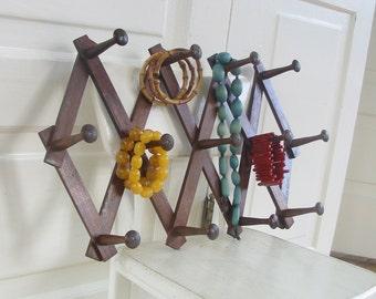 Vintage Wood Rack Accordion Clothes Hanger Jewelry Organizer