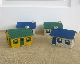 Vintage Metal Houses, Tin Houses, Railroad Accessories, Railway Buildings, Green Blue Yellow Train Display