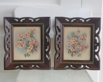 Vintage Pair Floral Prints Shabby Cottage Chic Flowers Dogwood Pink Blossoms