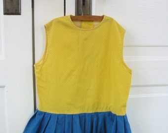 Vintage Girl Dress Yellow Polka Dot Blue Handmade Child Clothes Size 6 8