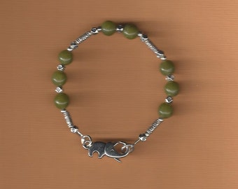 Artisan Bracelet Jade and Silver Trunk Up for Good Luck!