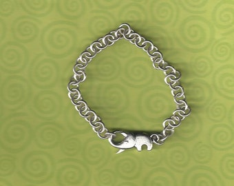 Silver chain bracelet with Elephant - Trunk Up for Good Luck!